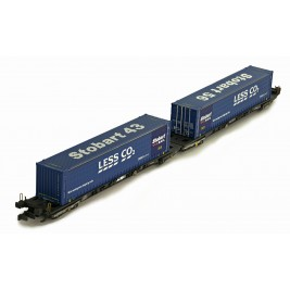 2F-053-003  N Gauge Megafret Twin Wagon with 2 x 45' Less CO2 Containers Weathered