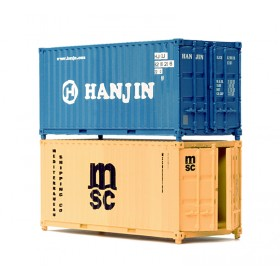 NB063A N Gauge 20 ft Containers x 2 Hanjin & Water Front