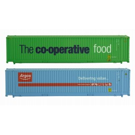 2F-028-001  N Gauge 45 Foot Container Twin Pack Co-op & Argos