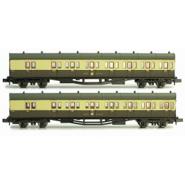2P-003-000 N Gauge  B Set Coach Twin Pack GWR Cities Crest 6447 & 6448