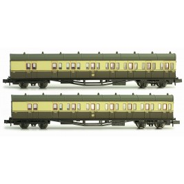 2P-003-003 N Gauge  B Set Coach Twin Pack Great Crest Western 6894 & 6895