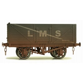 7F-071-015W O Gauge 7 Plank Open wagon  LMS 302081 Weathered