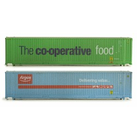 2F-028-002  N Gauge 45 Foot Container Twin Pack Co-op & Argos Weathered