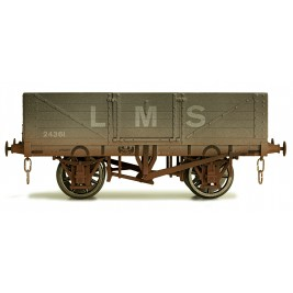 7F-051-019W O Gauge 5 Plank Open Wagon LMS 24361 Weathered