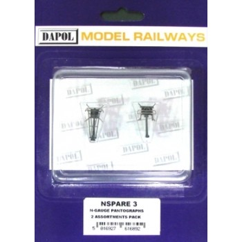 NSPARE3 N Gauge  Pantograph Twin Pack (1 x Brecknell Willis 1 x Stone Faiveley)