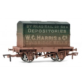 4F-037-101 OO Gauge Conflat & Container W.C Harris Weathered