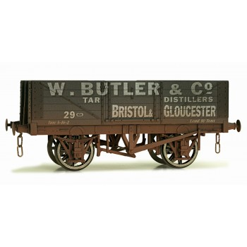 7F-051-003W O Gauge 5 Plank Open Wagon  Butler, Bristol Weathered