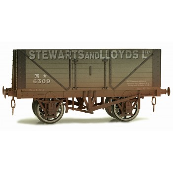 7F-080-018W O Gauge 8 Plank Open Wagon Stewart & Lloyds 6309 Weathered
